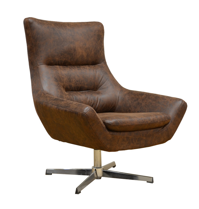 York Swivel Accent Chair in Yellow Brown