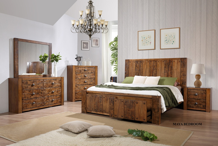 Maya King Bed with 2 Bedside Cabinets - OUT OF STOCK