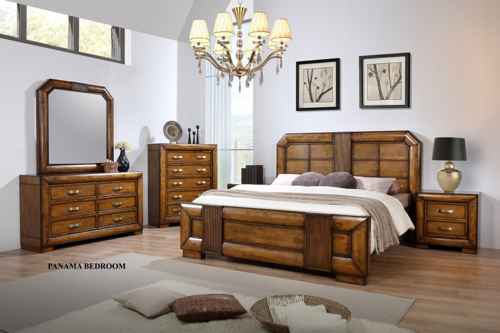 Panama Queen Bed with 2 Bedside Cabinets