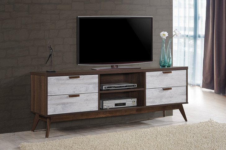 Hana Entertainment Unit (Wall White & Wood Brown)