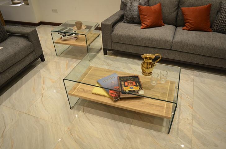 Bent Glass Coffee Table With Light Oak Shelf
