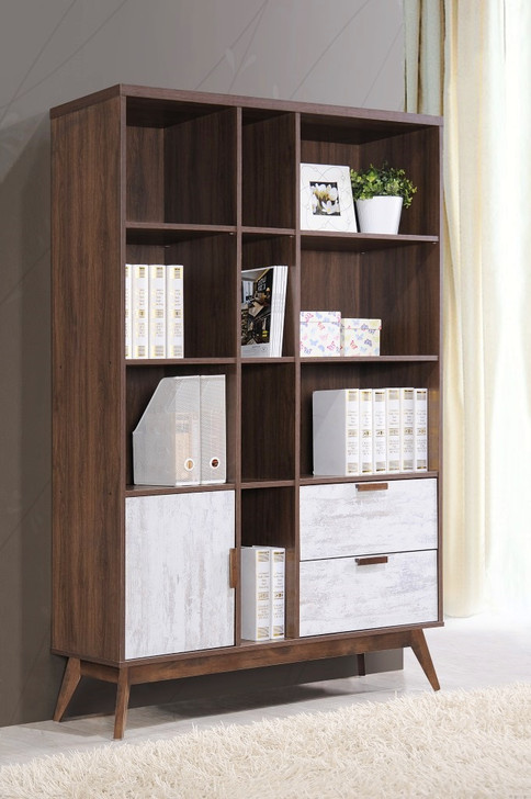 Hana Bookshelf (Wall White & Wood Brown)