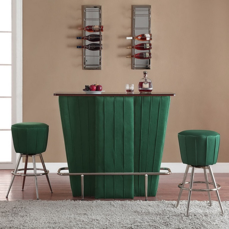 Phoebe Bar Counter + 3Pcs George Bar Stool in Green Velvet