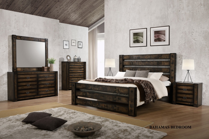 Bahamas King Bed with 2 Bedside Cabinets