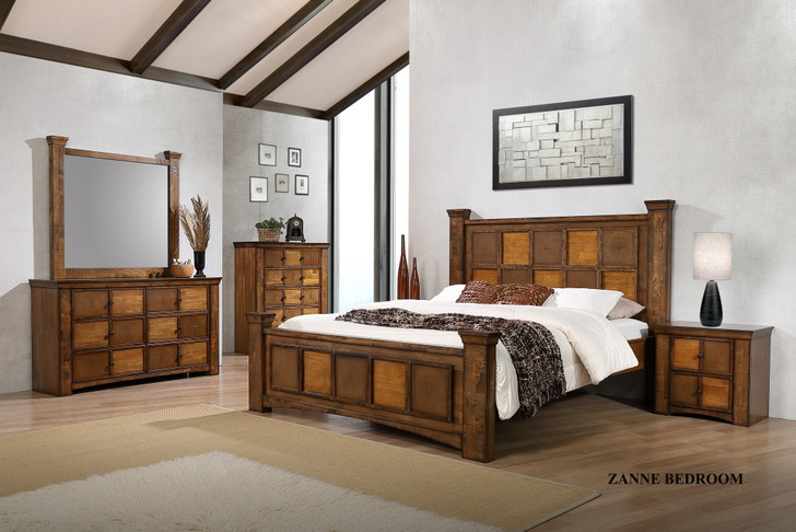 Zanne Queen Bed with 2 Bedside Cabinets