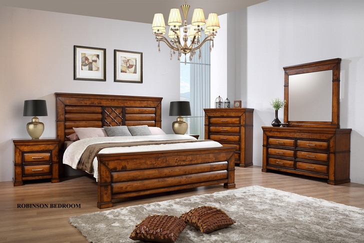 Robinson King Bed with 2 Bedside Cabinets - OUT OF STOCK