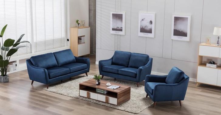 Sophia 6 Seater Sofa In Blue Velvet Feel Fabric - OUT OF STOCK