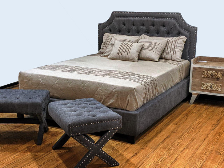 Rochelle Bed In Grey - Queen Size - OUT OF STOCK
