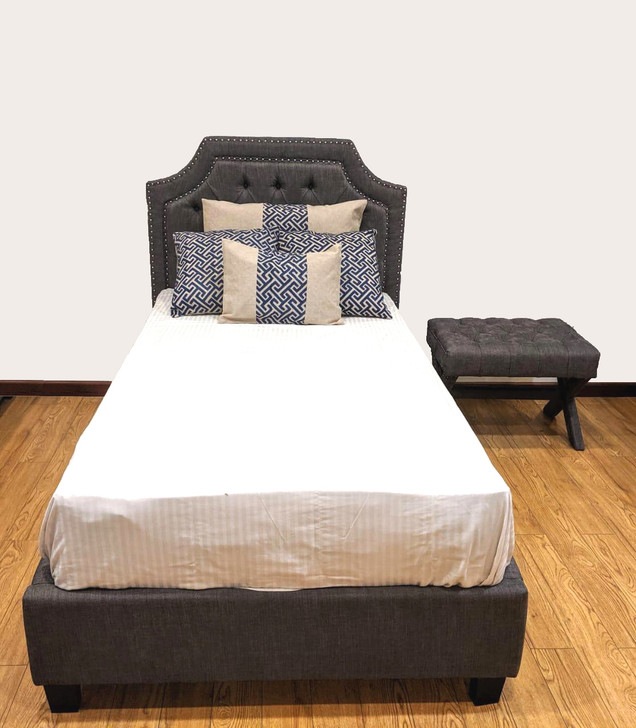 Rochelle Tufted Bed In Grey - King Single Size - OUT OF STOCK