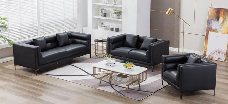 Smith 6 Seater Sofa Black Leather Gel