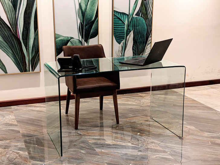Bent Glass Desk - Clear  - OUT OF STOCK
