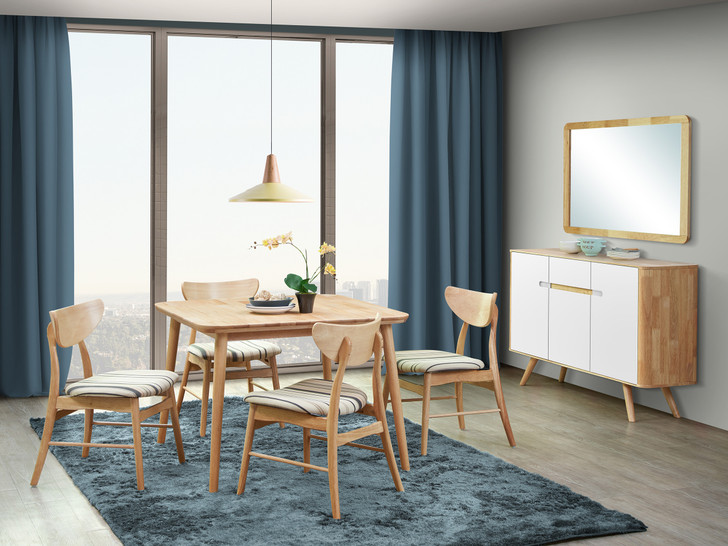 Athens 4 Seater Square Dining Set in Natural Option - OUT OF STOCK