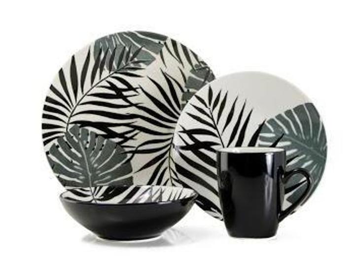 Thomson Potterry 16pc Dinner Set - Palm Leaf Black