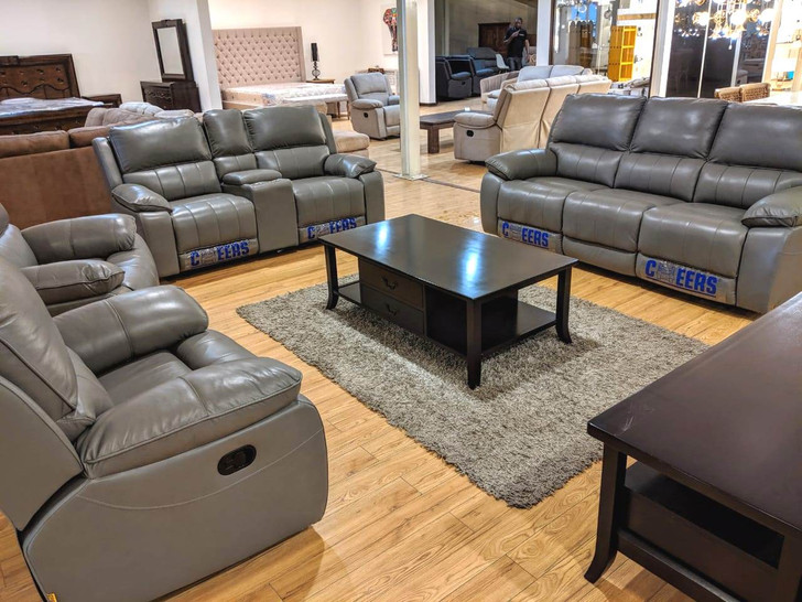 Tuscon 7 Seater Recliner In Grey Half Leather