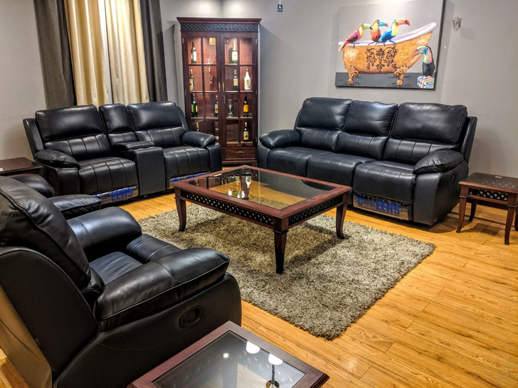 Tuscon 7 Seater Recliner In Black Half Leather