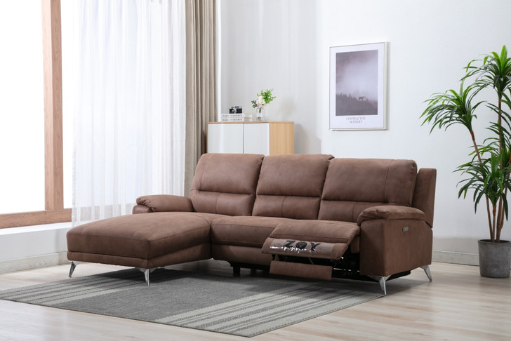 Emma Power Recliner  Loveseat with chaise in Mocha