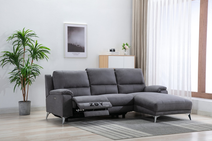 Emma Power Recliner  Loveseat with chaise in Gray