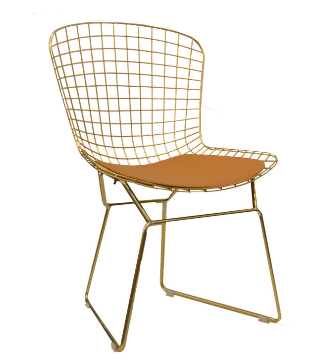 Replica Bertoia Bistro Chair In Deep Gold-OUT OF STOCK