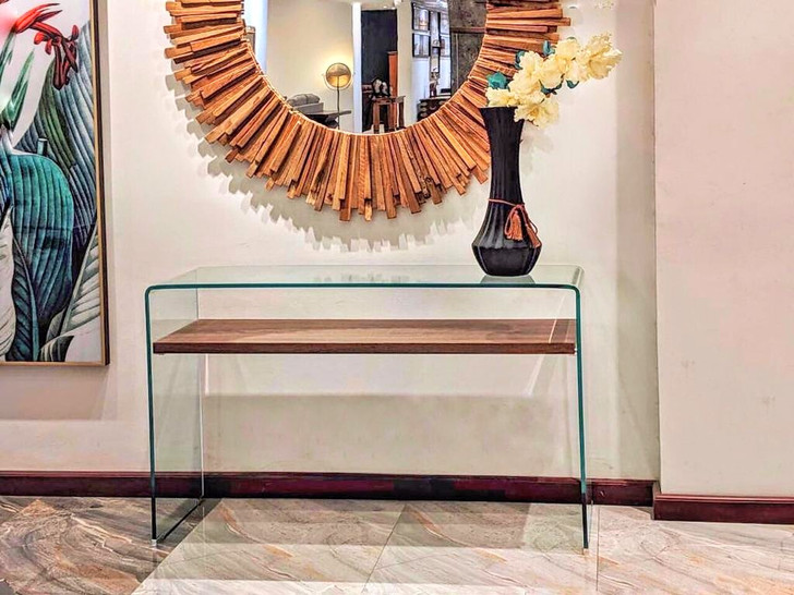 Bent Glass Console Table With Dark Oak Shelf