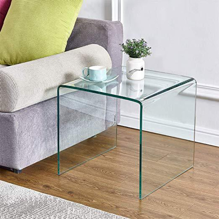 Bent Glass End Table - Clear - OUT OF STOCK