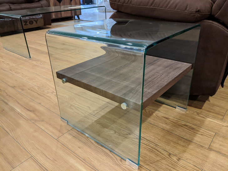 Bent Glass End Table With Dark Oak Shelf - OUT OF STOCK