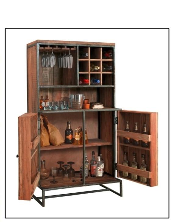 Cancun Bar Cabinet In Acacia & Iron