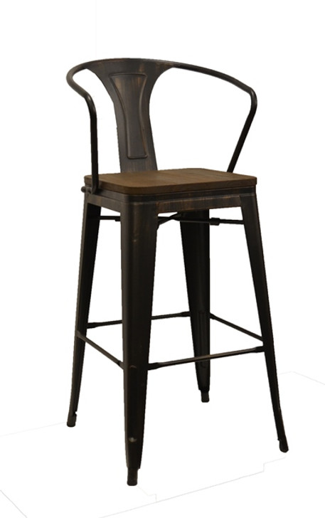 Tolix LB Bar Chair In Sanded Black/Brushed Gold-OUT OF STOCK