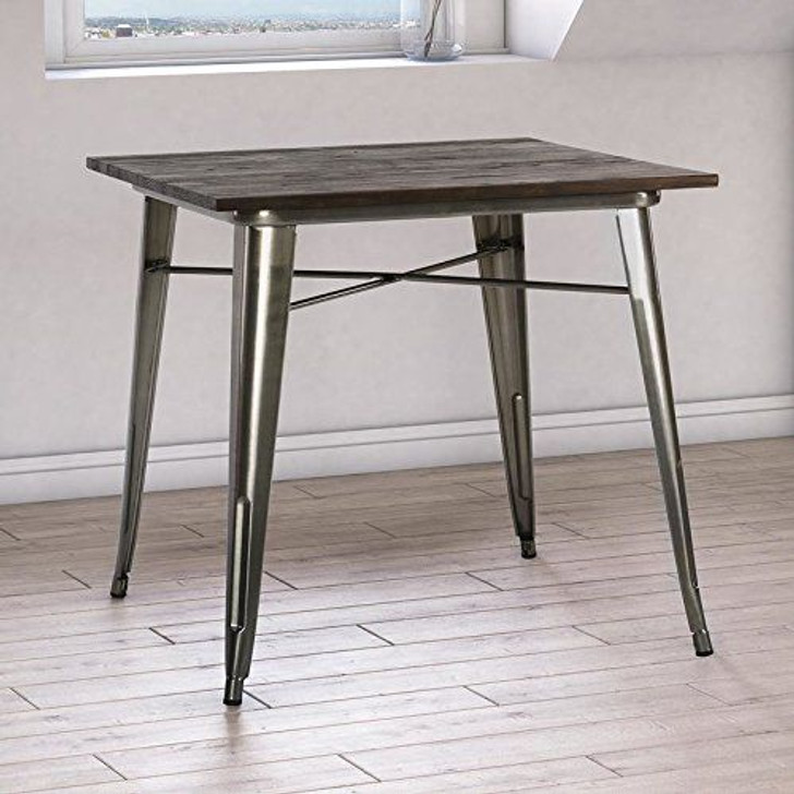 Bistro Metal Table In Glossy Steel - OUT OF STOCK