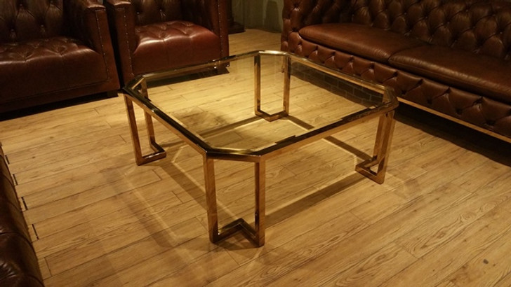 Venus Glass Top Coffee Table In Shiny Gold -OUT OF STOCK