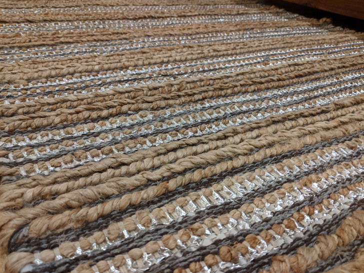 Leather (Glitter Silver)/Jute  Dhurrie -  (0.9m X 1.5m)-OUT OF STOCK