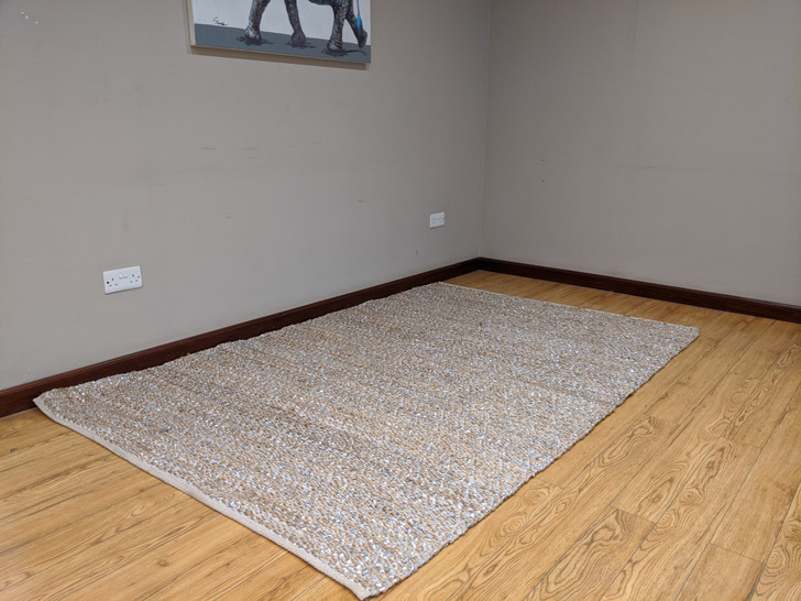Cotton & Recycle Leather(Silver) Dhurrie -1.6m X 2.3m