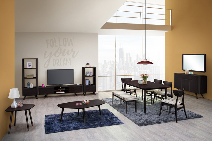 Athens 6 Seater Rectangular Dining Set In Cappuccino