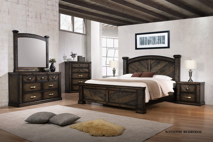 Winsome Queen Bed with 2 Bedside Cabinets - OUT OF STOCK