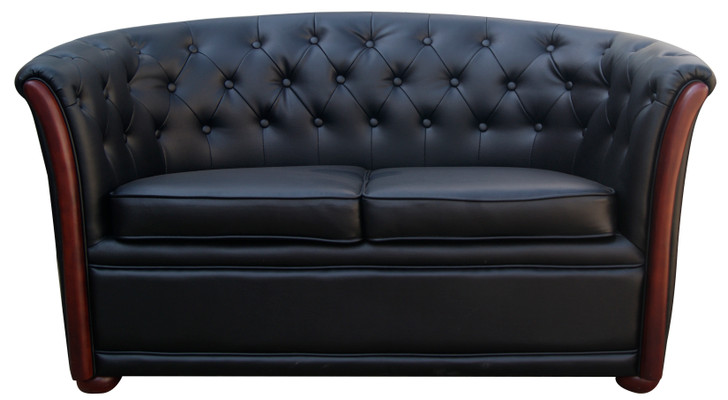 Reception 2 Seater Sofa With Buttons In Black PU - OUT OF STOCK