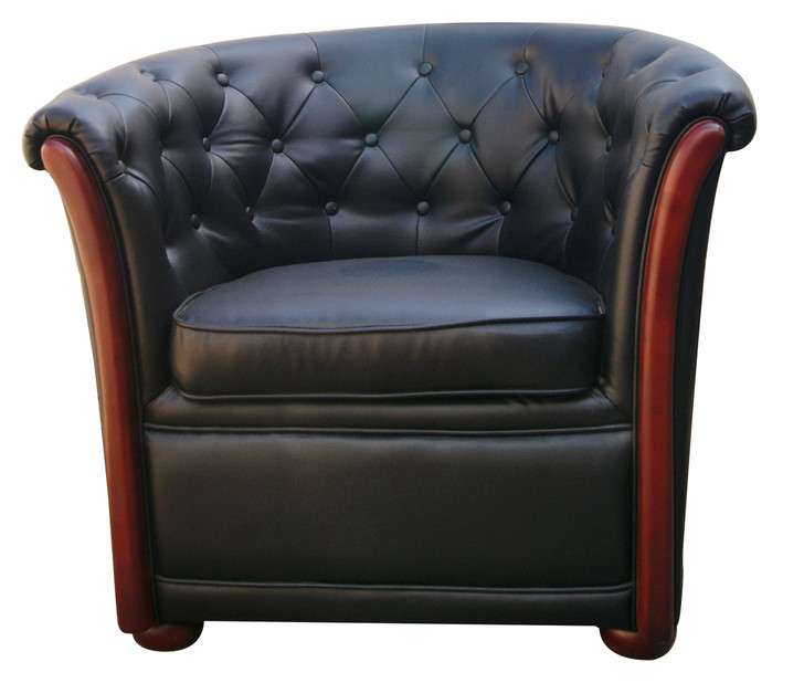 Reception 1 Seater Sofa With Buttons In Black PU