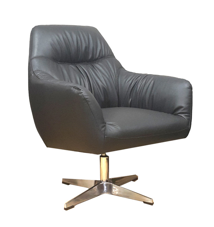 Cypher Swivel 1 Seater In Black Leather Gel - OUT OF STOCK