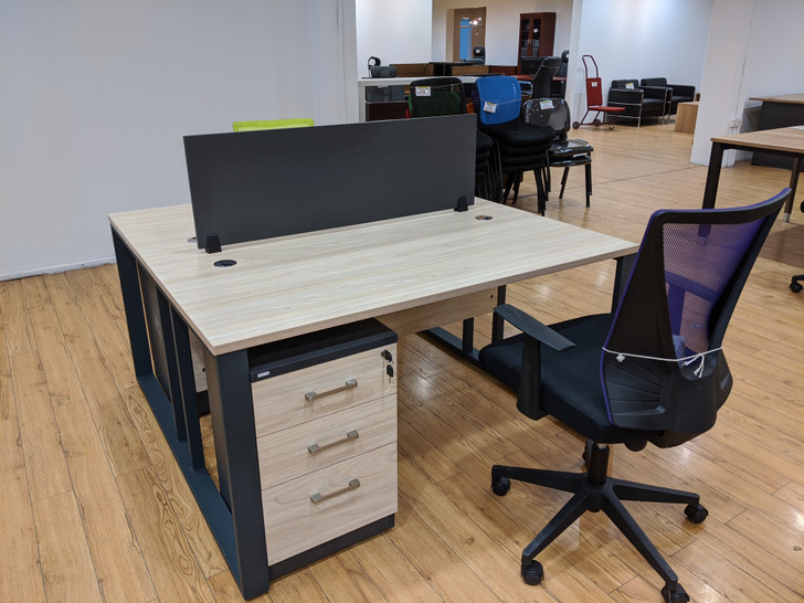 Empire 2 Pax Work Station 1.4mx1.4m With Mobile Drawers In Elm