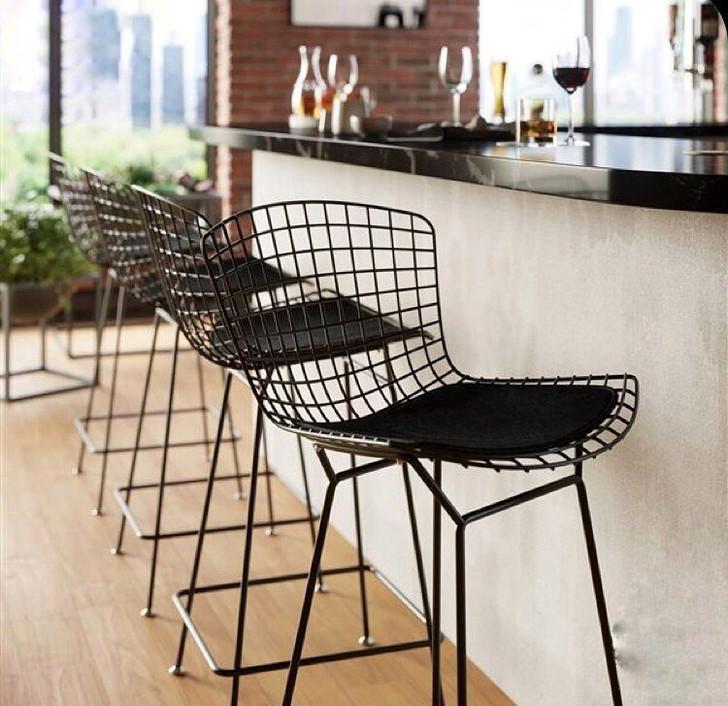 Replica Bertoia Bar Chair In Black