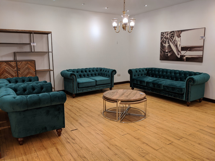 Luna 7 Seater Chesterfield in Green