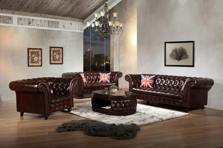 Colorado 7 Seater Chesterfield Sofa in Antique Red Leather