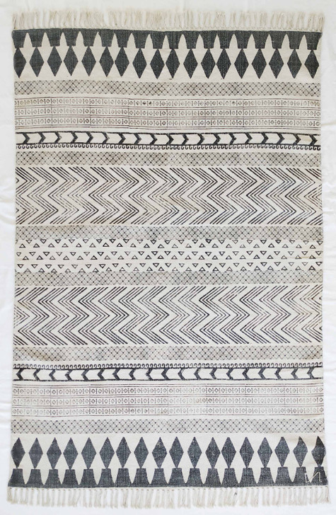 Cotton Block Print Durrie With Fringes -MH-6226 - 1.6 X 2.3