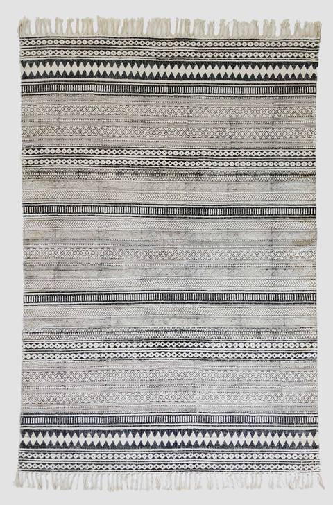 Cotton Block Print Durrie With Fringes -MH-6227 - 1.6 X 2.3