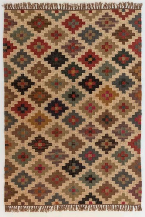Wool/Jute Panja Weave Kilim W/ Fringes -MH-8100- 1.4 X 2.0