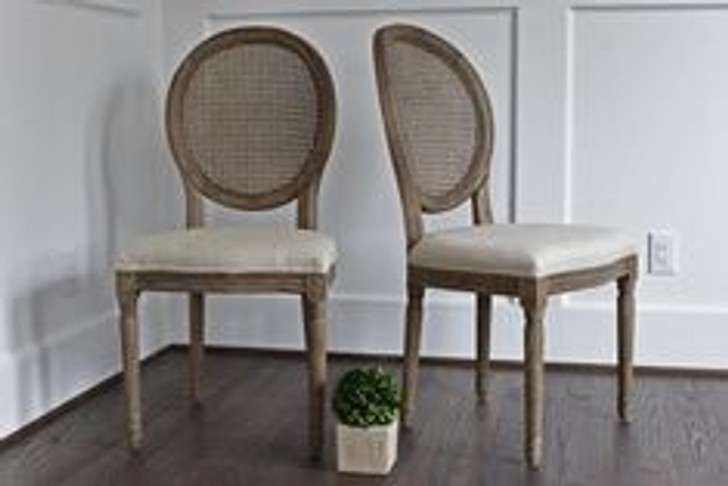 Louis Bistro Chair with Rattan Back (Aged Elm)
