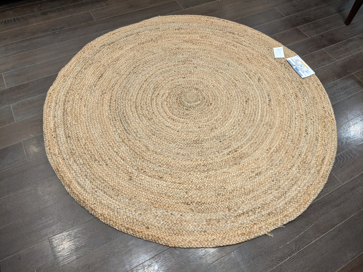 """1/2"""" Braided Circular Dhurrie (MH-1992)-Natural-150cm D-OUT OF STOCK"""