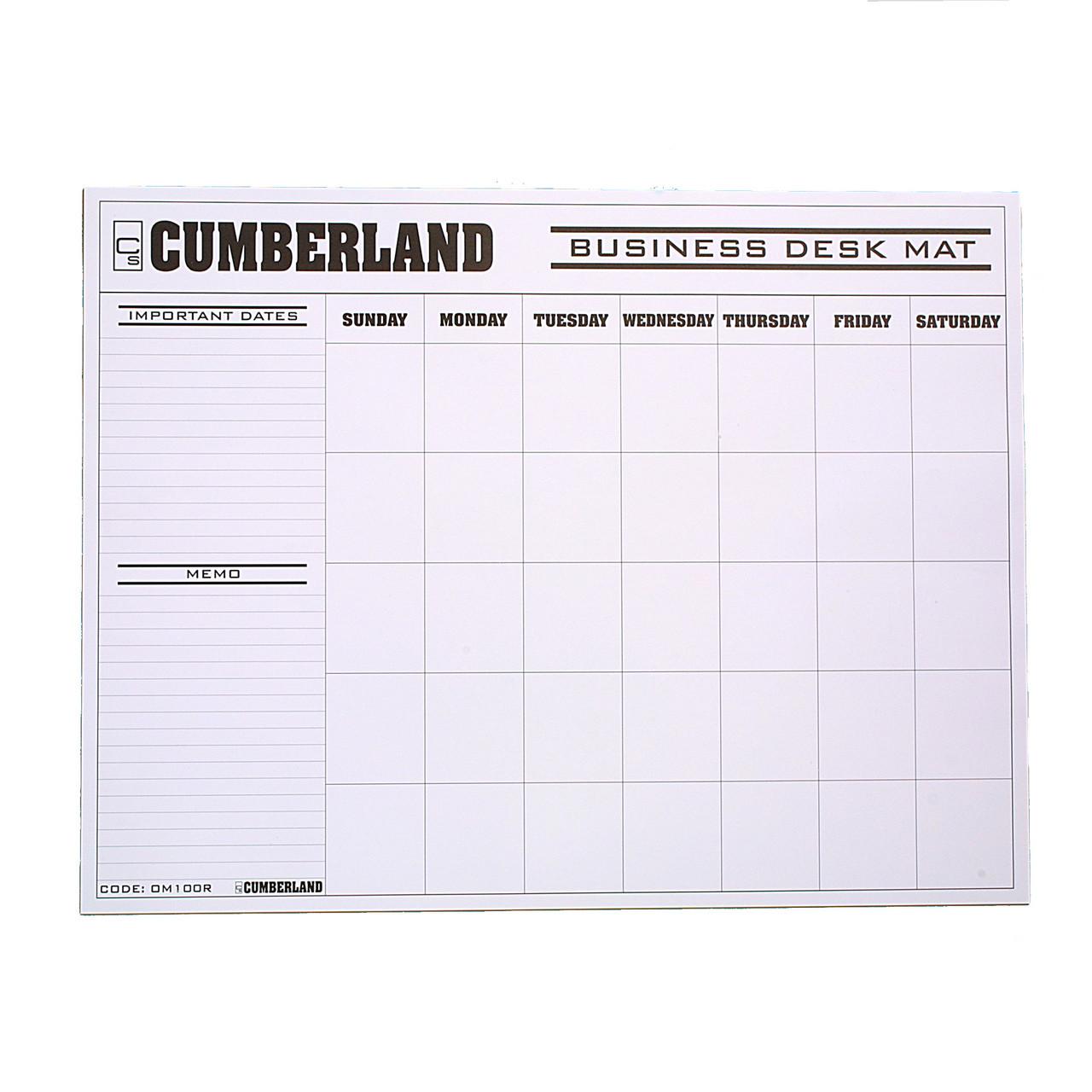 Cumberland Om100r Desk Mat Calendar Refills Suit Om1002 Pack 12