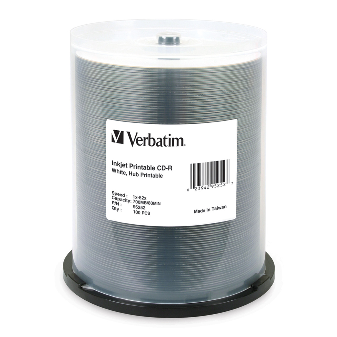 photo about Inkjet Printable Cds titled VERBATIM 95252 CD-R INKJET PRINTABLE WHITE - 100 PACK SPINDLE