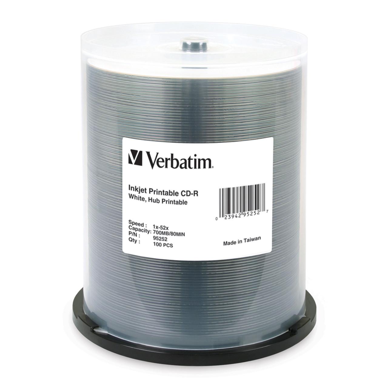 picture regarding Inkjet Printable Cds called VERBATIM 95252 CD-R INKJET PRINTABLE WHITE - 100 PACK SPINDLE