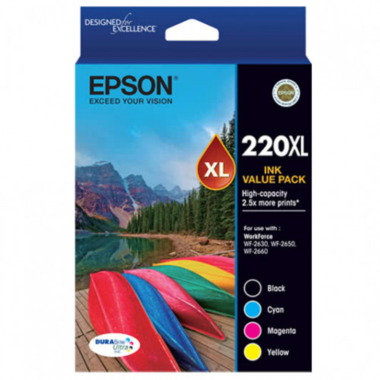 EPSON C13T294692 220XL HIGH YIELD INK CARTRIDGE DURABRITE ULTRA VALUE PACK  OF 4 - BLACK, CYAN, MAGENTA, YELLOW