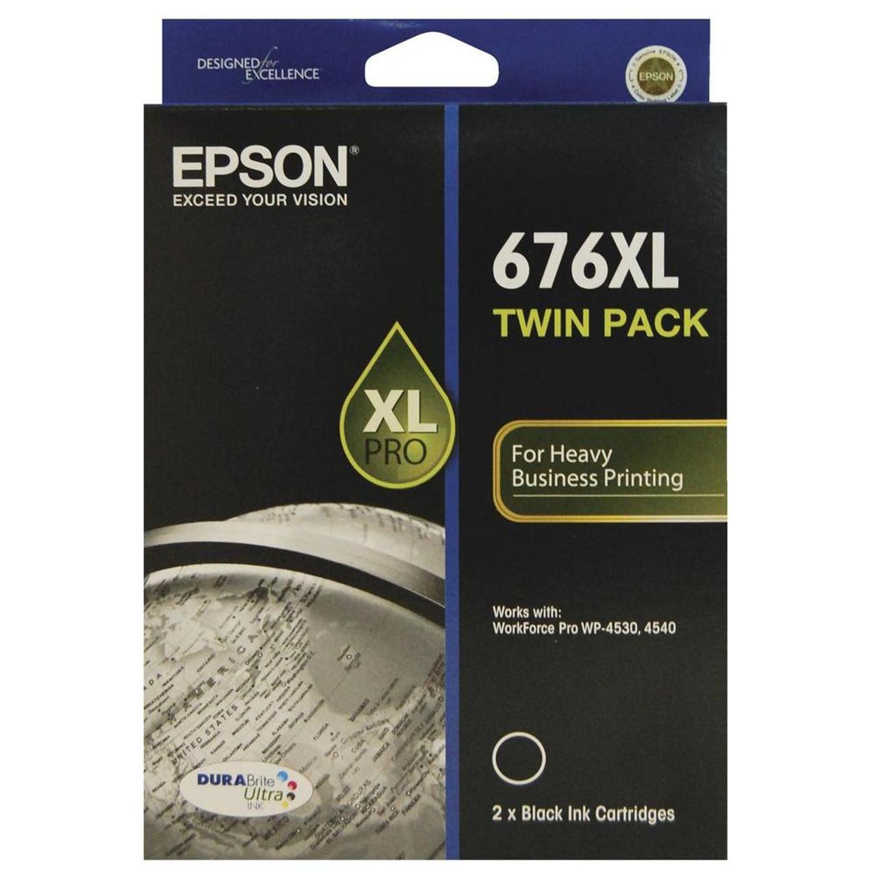 EPSON C13T676194 676XL HIGH YIELD INK CARTRIDGE DURABRITE ULTRA TWIN PACK  BLACK